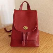 Coach Vintage Red Leather Backpack Photo