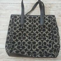 Coach Vintage Signature 8131 Black/grey (Gray) Wool & Leather Tote Bag Photo