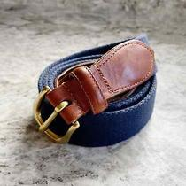 Coach Vintage Surcingle Web & Leather Belt Navy Blue Brass 40