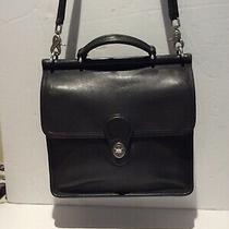 Coach Vintage Willis Classic Black Leather Messenger Bag 9927 Photo