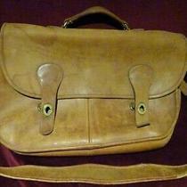 Coach Vintage Worn Leather Brass Briefcase Laptop Portfolio Messenger Bag Photo