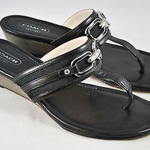 Coach Virginia Black Thong Sandals Metal Clasp Size 6.5/36.5 Rtl180 Photo