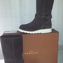 Coach Virtue Suede Boots 8m Chocolate Photo