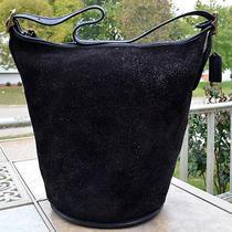 Coach Vtg Xl Berkeley Duffle Sac/bucket Bag9010black Reverse Suede Leatherusa Photo