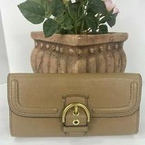 Coach Wallet Campbell Leather Slim Envelope Buckle Clutch F49897 Camel W17 Photo