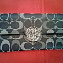 Coach Wallet - Clutch  Grey on Black Signature Print  New Condition - No Tags Photo