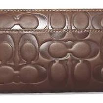 Coach Wallet Leather Brown Accordion Zip Wallet Photo