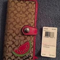 Coach Wallet Mini Signature With Watermelon Design and Hot Pink Trim F47664 Nwt Photo