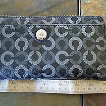 Coach Wallet Op Art Black Grey Zip Around Photo