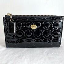 Coach Wallet Peyton Op Art Embossed Patent Leather Zippy F50450 Black  Photo