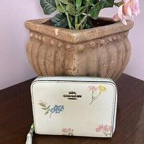 Coach Wallet Small Floral Print Zip Around Chalk Coated Canvas F73025 W8 Photo
