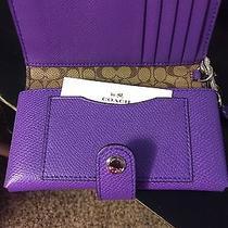 Coach Wallet With Wrist Strap Clutch Purple Genuine Photo