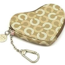 Coach Waverly Gold/white Signature Canvas Heart Keychain Coin Purse 43710 Photo