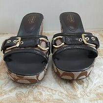 Coach Wedge Jewel Brown Patent Leather Signature Sandal Size 9 Photo
