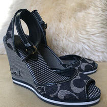 Coach Wedge Sandals Navy and White Size 6 Photo