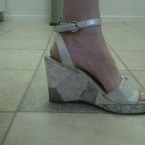 Coach Wedge Sandals Silver Size 9 Guc Photo