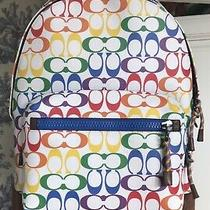 Coach West Backpack Rainbow Signature Coated Canvas Suede Bottom Nwt 598 Photo
