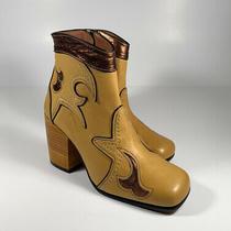 Coach Western Bootie Burnish Marigold Bronze Leather Boots Wmns Sz 5 New 550 Photo