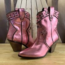 Coach Western Bootie W/ Prairie Rivets Ankle Boots Pink Studded Womens Us Sz 9.5 Photo