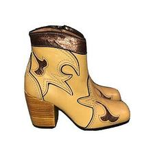 Coach Western Bootie With Burnish in Marigold/bronze Size 5.5 New Rare Photo