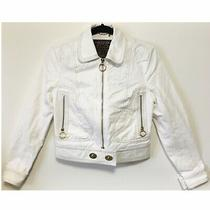 Coach White Crop Denim Jean Moto Jacket Size 4 Gold Cropped Zipper Coat Rare Photo