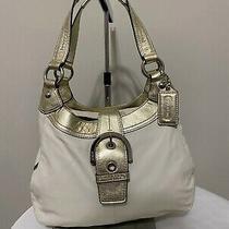 Coach White/gold Leather Soho Hobo Handbag Purse Shoulder Bag. Photo