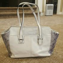 Coach White Leather and Faux Snake Print Purse Photo