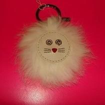 Coach White Leather Lion Cat Head Mink Fur Trim Key Chain Fob Ring Charm F62983 Photo