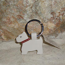 Coach White Leather Scottie Dog Key Ring 7384 Nwt From Italy Photo
