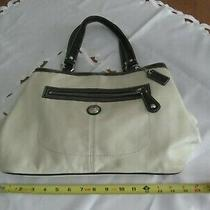 Coach  White Leather With Blue Patent Leather Tote/shoulder Handbag C1082-F44866 Photo