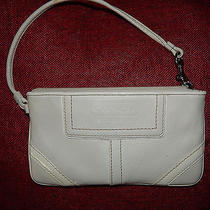 Coach White Leather Wristlet With Patent Leather Trim Photo