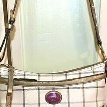 Coach White Multi Color Tattersal Plaid Canvas Purse / Handbag Adjustable Strap Photo