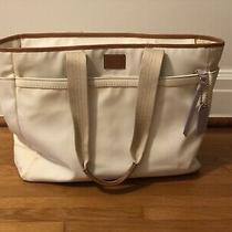 Coach White Purple Purse Satchel Diaper Bag With Pockets Canvas Straps Photo