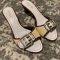 Coach White Weaved Slip on Heels Size 8 Belt Sandals Kattie A6 Italy Photo