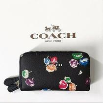 Coach Wild Flower Coated Canvas Silver/blue Double Zip Coin Case Org. 95 Bnwt  Photo