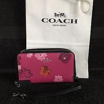 Coach Wildflower Double Zip Wallet / Wristlet Dahlia Pink Multi Floral Photo
