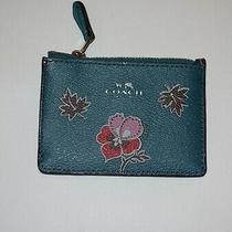 Coach Wildflower Print Mini Id Key Ring Coin Purse Case F12555 Dark Teal Wallet Photo