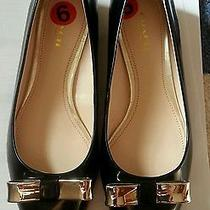 Coach Wilma Flat Black With Gold Bow Patent Leather Size 6b Photo