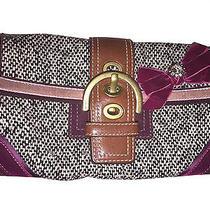 Coach Wine Leather Black White Tweed Velvet Handbag Hangtag Photo