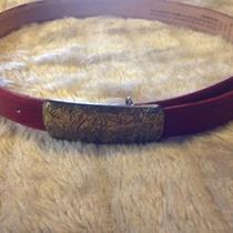 Coach With Brass Belt Buckle Leather Women's Belt Size Medium Photo