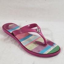 Coach Wmn Sz 7b Trixie Pink Jelly Flip Flops Sandals Shoes 4 C Silver Logo Photo