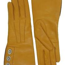 Coach Woman's Honey Yellow Leather Cashmere Lined Turnlock Gloves 82825 6.5 Photo