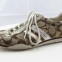 Coach Women Athletic Shoes Size 7 Brown Fabric Fashion Sneakers Photo