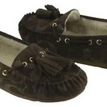 Coach Women's Anita Moccassin Slippers Chestnut Brown Suede  6 Photo
