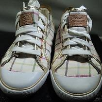 Coach Women's Barrett Casual Sneakers White/gold   Size 6b F007 Q322 Photo