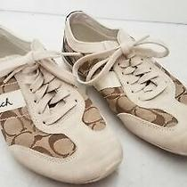 Coach Women's Baylee Brown Canvas and Suede Signature Sneaker Sz 8 Photo