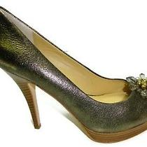 Coach Women's Bergen Soft Crackled Leather Gold Pump High Heel Shoes  9 M Photo