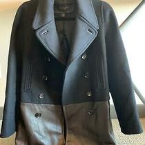 Coach Womens Black Wool Cashmere Brown Leather Fitted Coat Jacket 1498 Size Xs Photo