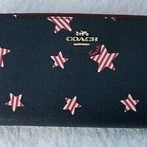 Coach Women's Canvas Anericana Star Print Accordion Zip Wallet Red/wht/blue Nwt Photo