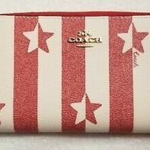 Coach Women's Canvas Stripe Star Print Accordion Zip Wallet in Chalk/red Nwt Photo